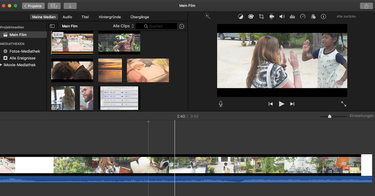 iMovie Mac Apple Screenshot kostenlose Videoschnitt Programme Video-Hilfe Sebastian Fischer