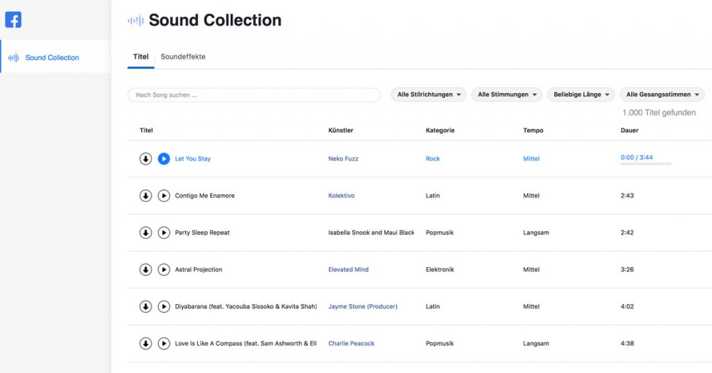 kostenlose Musik für Youtube Videos - Facebook Sound Collection Musik Bibliothek | Video-Hilfe - Sebastian Fischer